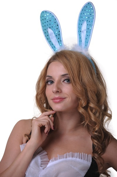 Уши зайчика  блестящие голубые
