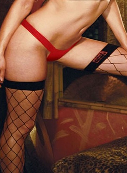 Комфортные трусики-танга из кожи на широкой резинке