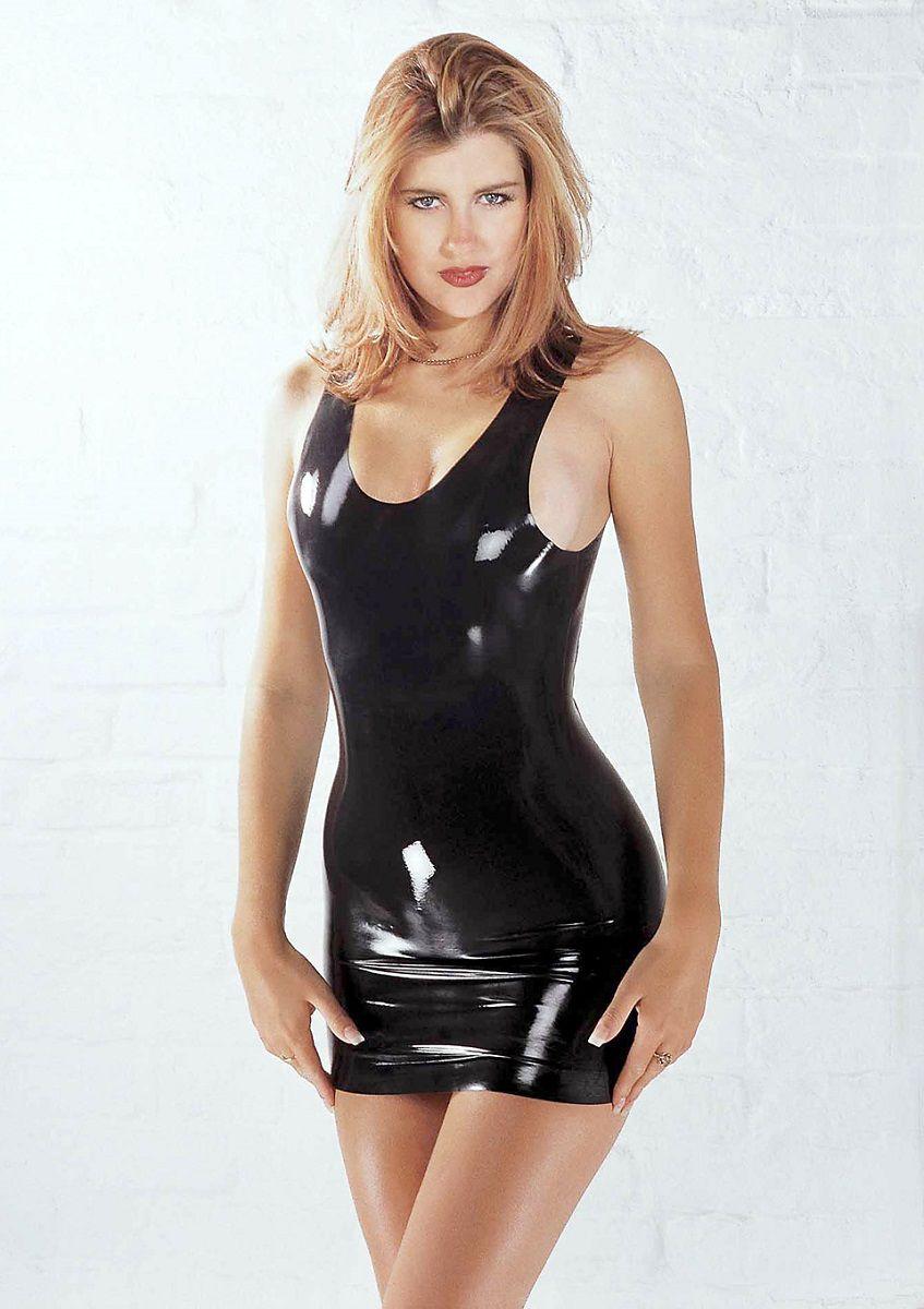 Мини-платье из черного латекса