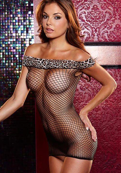 Платье в сетку с леопардовым верхом