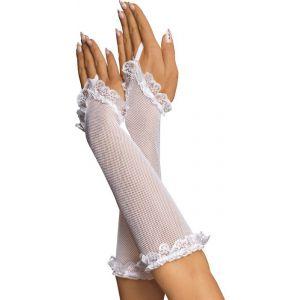 Перчатки-митенки из сетки с ажурной отделкой