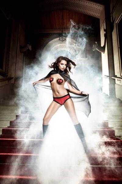 Deeper in Hell Трусики-шорты черно-красные с частично прозрачными полосами